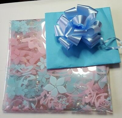 2 Mtr pink/blue butterfly Cellophane. Pull Bow & blue Tissue paper Hamper Wrap