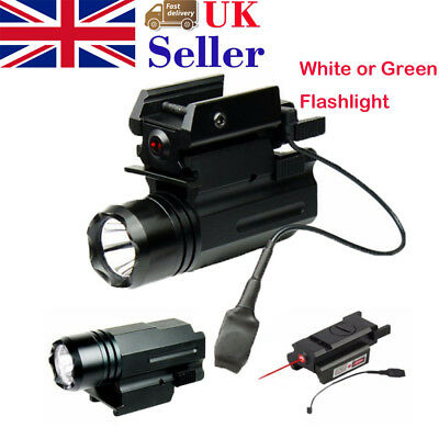 Tactiacl CREE LED Flashlight Red Dot Laser Sight 20mm Mount For Pistol Airsoft
