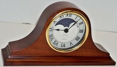 Beautiful Small Battery Operated Moon Phase Wood Mantel Clock Made In England