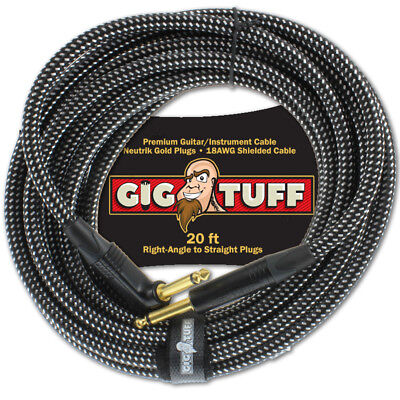 Gig Tuff Premium 20ft Right-Angle Guitar Cable Neutrik Gold Plugs 18AWG 1/4 NEW