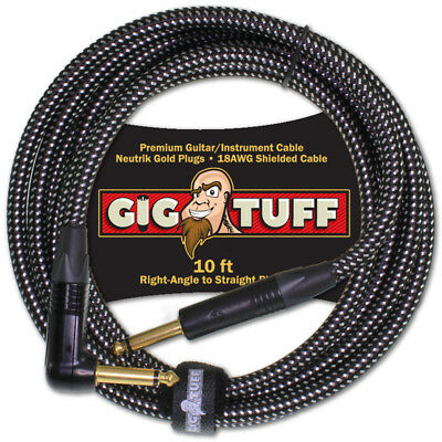 Gig Tuff Premium 10ft Right-Angle Guitar Cable Neutrik Gold Plugs 18AWG 1/4 NEW
