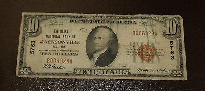 Nice $10 Ayers National Bank of Jacksonville IL - Type1  - Charter #5763