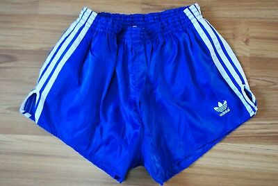 ADIDAS SHORTS VINTAGE NYLON SIZE M RETRO 80-90s MADE IN PHILIPPINES STRIP BLUE
