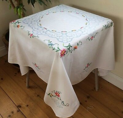 Pretty Vintage Hand Embroidered Cross Stitch Tablecloth
