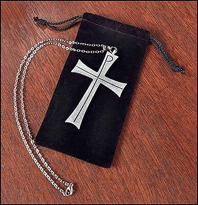 """Latin Pectoral Cross Clergy w Pouch Pewter Greek Chi Rho (KC309) 3 1/2"""" 32"""" Long"""