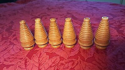 Set of 6 Wooden Tree Bobbins (Textile Bobbins) Free Shipping