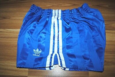 ADIDAS SHORTS VINTAGE NYLON SIZE M RETRO 80-90s MADE IN WEST GERMANY STRIP BLUE
