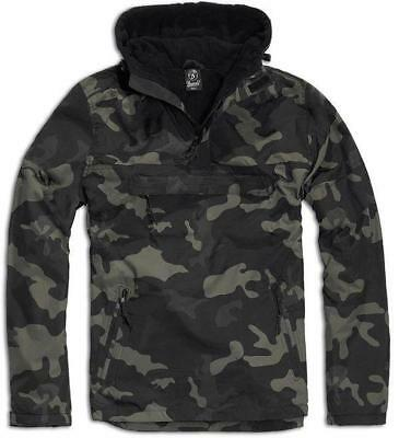 Brandit Dark Camo Windbreaker Hooded Weather Proof Fleece Lined Anorak Jacket