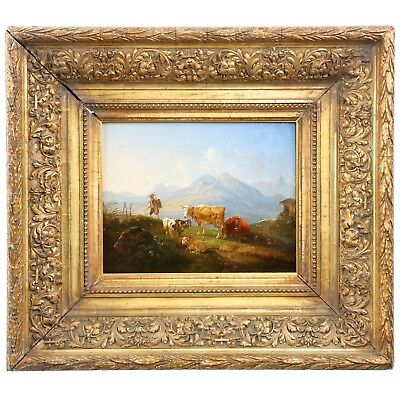Antique German Oil Painting of Hiker by Cows & Sheep in Mountains, 19th Century