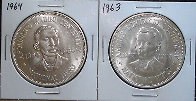 1963 and 1964 Silver Commemorative One Peso Coins from the Philippines