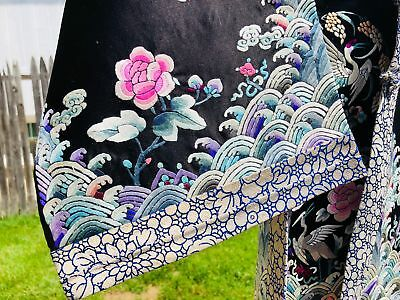 CHINESE Jacket Silk Embroiderd Robe Jacket Gold Thread Qing Dynasty Cranes