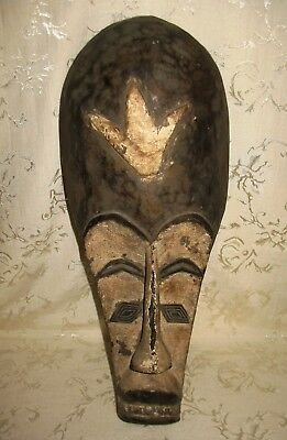 Antique Fang Mask, Gabon, West Africa, Carved Wood with Naturel Pigments 21""