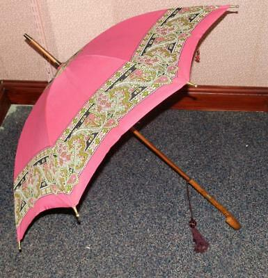 Ladies Vintage Pink Umbrella W/ Gold Plated Collar W12ctRG