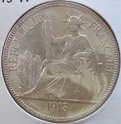1913-A Silver One Piastre Coin from French Indo-China