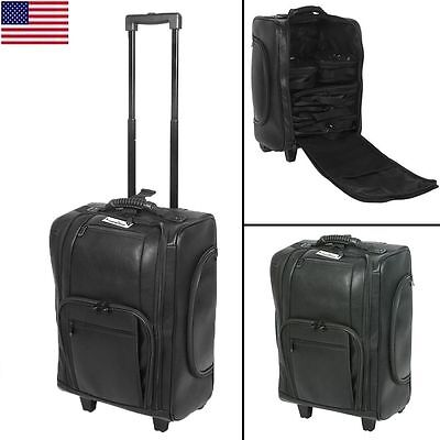 Makeup Case Train Leather Box Cosmetic Organizer Rolling Luggage Trolley Bag US