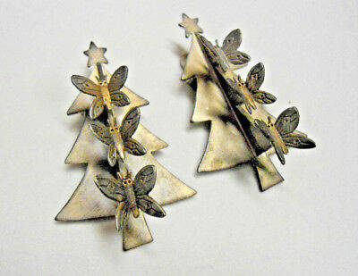 Two Christmas Tree Clips,Brooches with Butterflies Signed Emilia Castillo '97