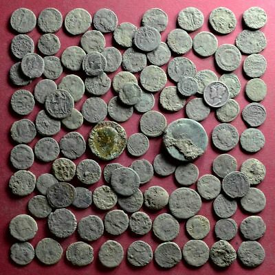Lot of 100 NICE Quality A1 Follis Maiorina AE3 Roman coins - uncleaned #01