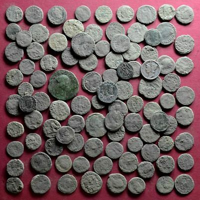 Lot of 100 NICE Quality A1 Follis Maiorina AE3 Roman coins - uncleaned #04