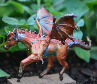 Autumn inspired Breyer Mini Whinnie Dragon Horse Custom made model fall leaves