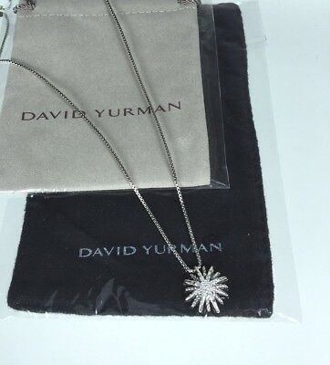 David Yurman Diamonds And Sterling Silver Starburst Necklace. Small