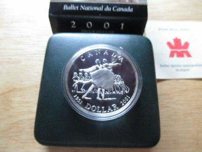 2001 Canadian Silver Dollar Ballet Proof With Case And Coa