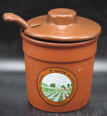 """Traditional Terracotta France"" Jam / Mustard Jar w Lid & Spoon - Morris Nationl"