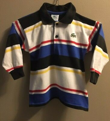 VTG CHEMISE LACOSTE RED BLUE BLACK YELLOW STRIPED LS POLO SHIRT S (4-5) Boys