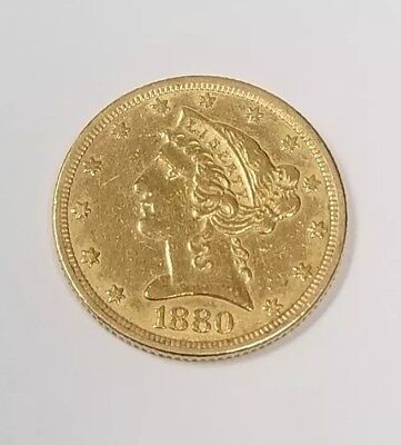 1880 $5 Dollar Liberty Gold Half Eagle Coin