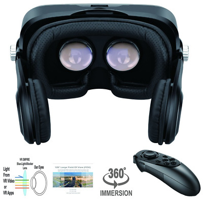VR Virtual Reaity Headset With Remote Stereo 3D Movie Glasses Goggles for Phones