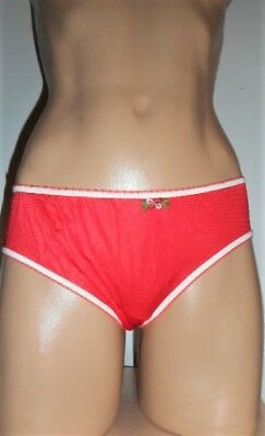 Vintage Adorable Holiday Red Nylon Unlined Panties 6/m