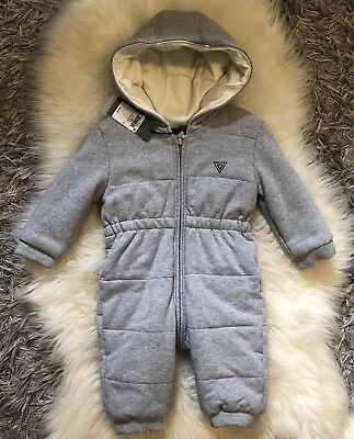 Guess Baby Girl Or Boy Romper Bunting One Piece Outwear Grey Size 12 Months NWT