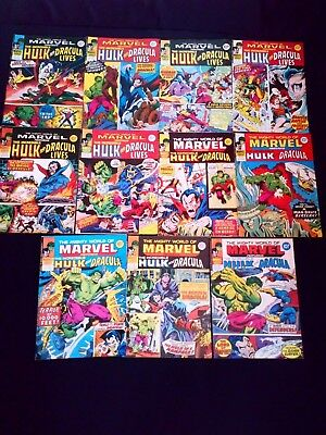 The Mighty World of Marvel The Incredible Hulk/Dracula Lives Joblot x 11 1977