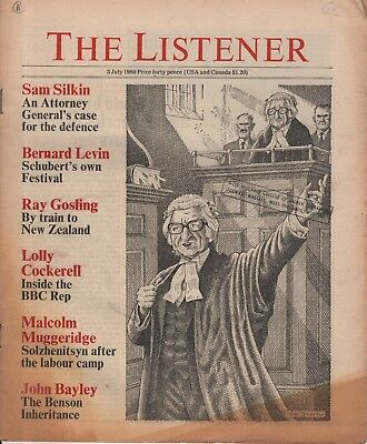 THE LISTENER (3 July 1980)MUGGERIDGE ON SOLZHENITSYN - RAY GOSLING - JOHN BAYLEY