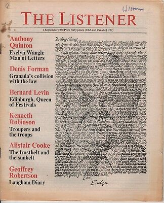 THE LISTENER (4 September 1980) EVELYN WAUGH - BERNARD LEVIN - RAY GOSLING