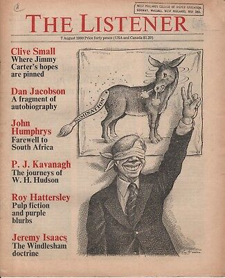 THE LISTENER (7 August 1980) P.J.KAVANAGH - DAN JACOBSEN - THE BILLYGATE AFFAIR