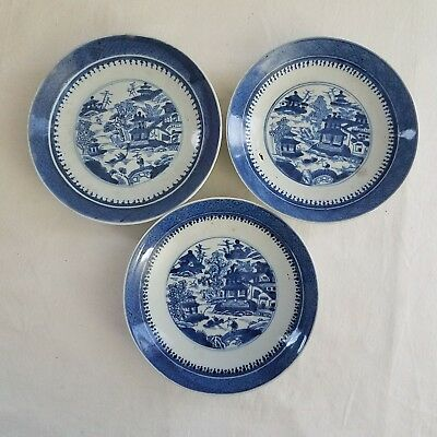 lot of 3 antique Chinese Export Canton Blue and White Porcelain Plates