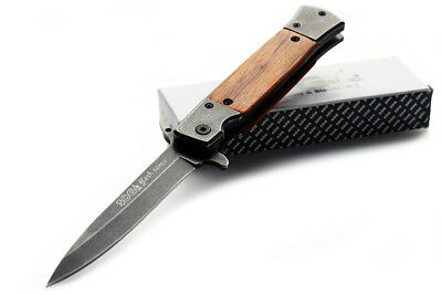Folding knife SOG Tactical Survival Camping Hunting EDC wooden handle