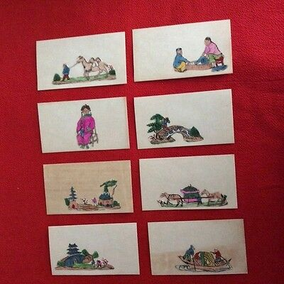 8 Vintage Place cards chinese Folk Art paintings