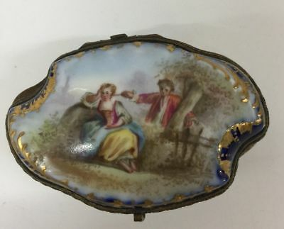 Sevres style Porcelain  Trinket Box French 19th century HInged Pill gilt Antique
