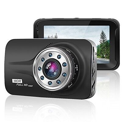 "ORSKEY Car Dash Cam 3.0"" LCD FHD 1080p 170 Degree Wide Angle Dashboard Camera Re"