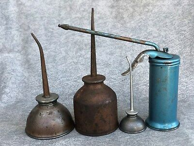 Vintage & Collectible Lot of 4 Oil Cans, Metal, Brass or Copper Oilers, Eagle