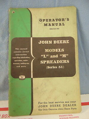 Vintage John Deere Model L M Spreader Operator Manual