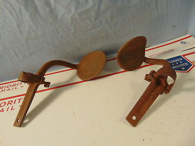 Early Round Pr Of Cast Iron Horse Drawn Buggy Steps Original Barn Fresh Antique