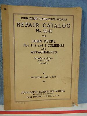1928 - 1932 John Deere 1 2 3 Combines + Attachments #55-H Repair Catalog Orig