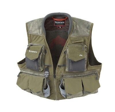 Simms Guide Fly Fishing Vest Size XL Hex Camo Loden