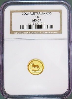 2006 Gold Australia $5 Lunar Year Of The Dog Coin Ngc Mint State 69