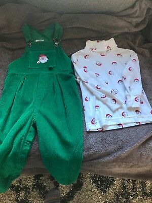Vintage childrens christmas overalls