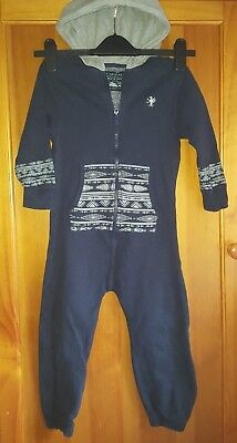 Next Navy Blue Hooded Cotton Reach Fleece Lined All In One Age 4 Years 104 cm