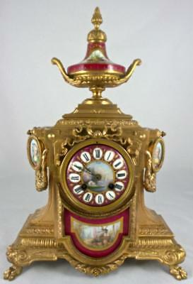 Antique 19thc French 8 Day Mantel Clock With The Most Beautiful Sevres Porcelain