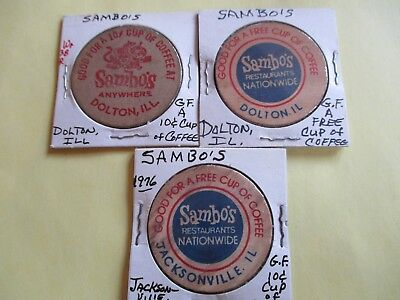 3 Sambo Wooden Nickels, Dolton and Jacksonville, Illinois.Good For Free & 10¢ Co